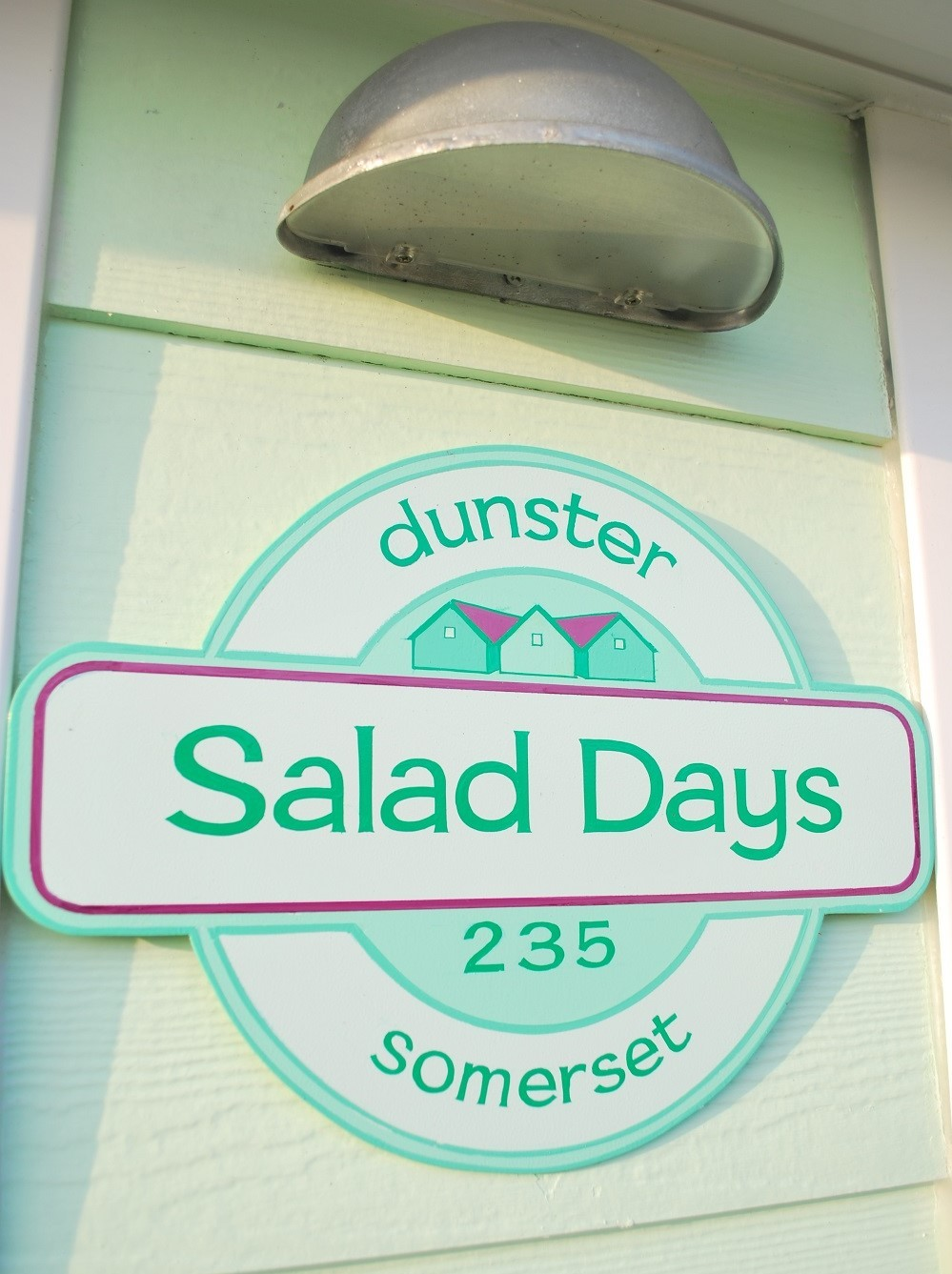 dunster beach holidays, salad days chalet, dunster chalet, Salad Days, Beach Hut, Beach Huts, Colour, Dunster, Dunster Beach, Beach, Beach Hut, Chalet, Accommodation, Exmoor, Somerset, Dunster beach hut, chalet in dunster, beach hut somerset, sign, hand painter